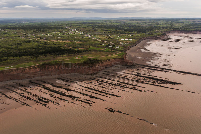 Aerial view of the Joggins Fossil Cliffs UNESCO World Heritage Site along the shore of the Bay of Fundy, Nova Scotia, Canada. May 2017