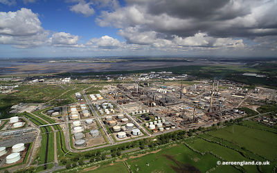 aerial photograph of Stanlow oil refinery at Ellesmere Port Cheshire England UK