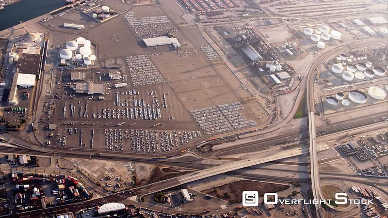HA Aerial View Of Truck Yards And Petroleum Loading Dock, RED R3D 4k California