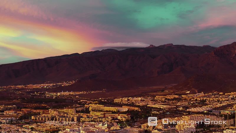 Costa Adeje and Teide Vulcan Sunset, Tenerife, Canary Islands, filmed by drone