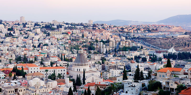 Panoramic skyline view with the Church of the Annunciation at dawn