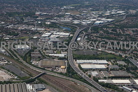 Birmingham high level aerial photograph of  the M6 Motorway looking towards Gravelly Hill interchange