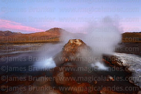 Boiling spring at El Tatio geyser field at twilight, Region II, Chile