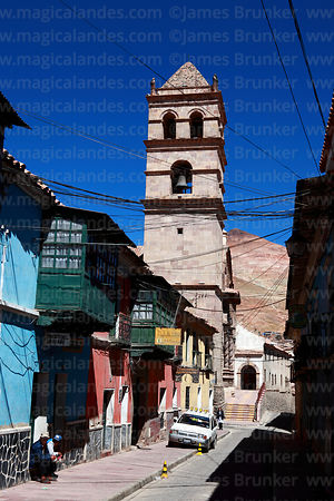 Colonial street, San Francisco church tower and Cerro Rico, Potosí, Bolivia