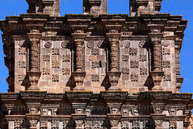 Close up of flower carvings on unfinished belfry of Nuestra Señora de la Asunción church, Juli, Puno Region, Peru