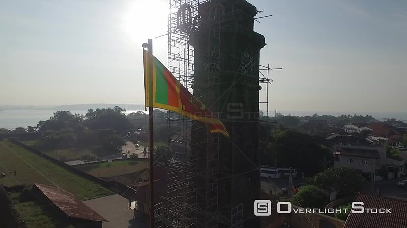 Galle Fort Clock Tower Sri Lanka Drone Video