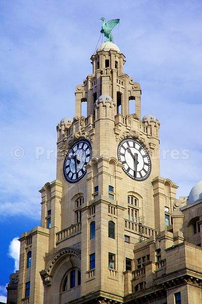 The Royal Liver Building Clock Tower and one of Two Liver Birds atop
