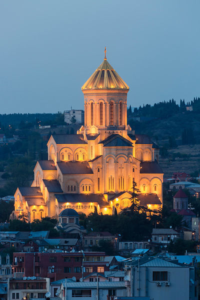 Sameba Cathedral Illuminated at Dusk