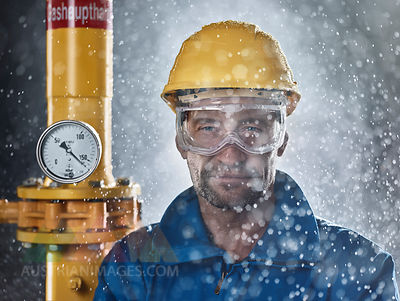 Portrait of craftsman wearing hard hat at work
