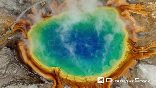 The bright rainbow colors of Grand Prismatic Spring and Excelsior Geyser in the Midway Geyser Basin, Yellowstone National Park