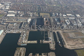 View looking from the river Mersey towards Collingwood Docks and the Tobacco Warehouse and Stanley Docks in the regeneration area of  Liverpool Water and the area of Vauxhall Liverpool