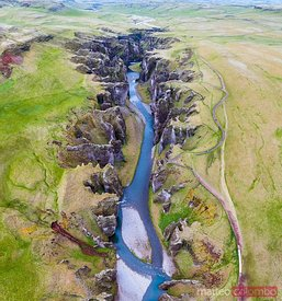 Aerial drone image of Fjadrargljufur canyon, Iceland