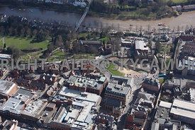 Chester aerial photograph of the Roman Amphitheatre and The Church of St john the Baptist with the river Dee in the Background