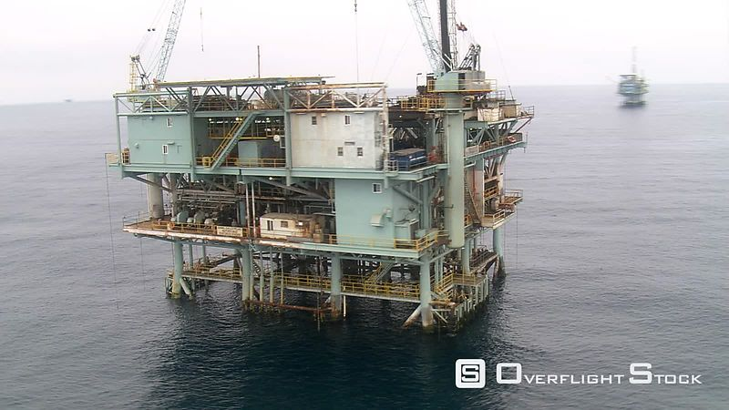 Aerial view of an off-shore oil rig