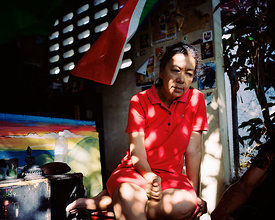 Red dress, Kingston, Jamaica