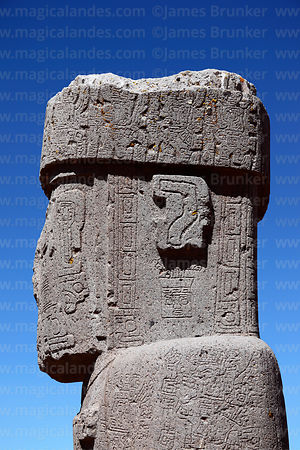 Side view of head of Ponce monolith, Tiwanaku, Bolivia