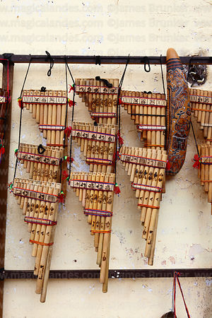 Panpipes for sale in market, Cusco, Peru
