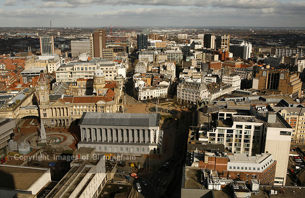 Cityscape of Birmingham city centre showing the town hall and Victoria Square, West Midlands.