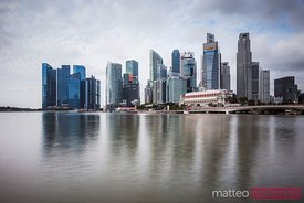 Singapore skyline reflected in bay,Singapore