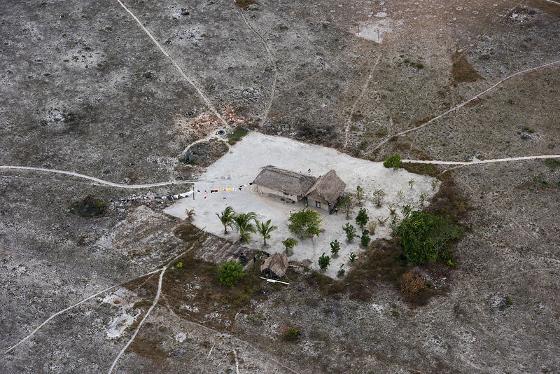 Aerial view of Amerindian House, Savanna  Rupununi, Guyana, South America