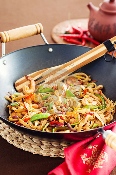Asian noodle in wok