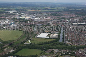 Warrington aerial photograph of Centre Park Lakeside Drive looking from the south with the park in the foreground looking towards Warrington town centre