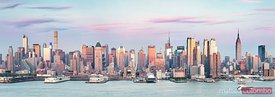 High resolution panoramic of Manhattan skyline at sunset