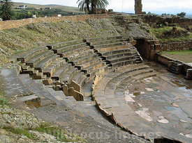 Seating area of the Theatre at Bulla Regia, Tunisia; Landscape