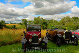 Vintage cars in the landscape