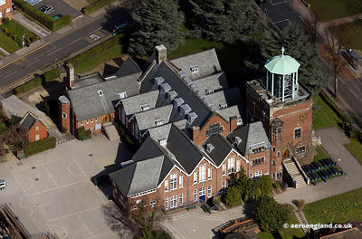 aerial photograph of the Carillon at Bournville Junior School Linden Road Birmingham B30 1JY UK
