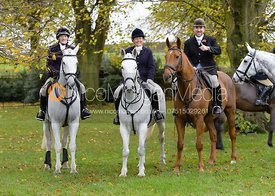 Jodie Parr, Jo Rutter, Russell Cripps at the meet - Cottesmore Hunt Opening Meet, 24/10/2017