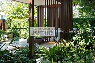 Asiatic garden, Contemporary furniture, Contemporary garden, Exotic garden, Garden construction, Garden furniture, Resting area, Tropical garden, Wood, Malaysian garden, Fern