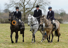 Hilary Butler, Nick Townsend, Clare Bell at the meet - The Cottesmore Hunt at Grange Farm