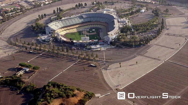 Circling Aerial View Of Dodger Stadium, RED R3D 4k California