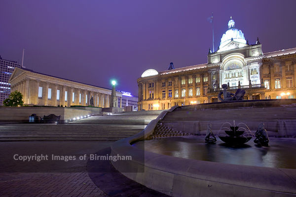 Victoria Square and Birmingham City Council House at dusk, also showing Town Hall