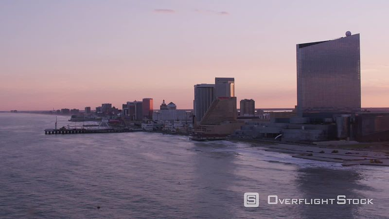 Atlantic City, New Jersey Aerial view of sun setting over Atlantic City.   Shot with Cineflex and RED EpicW Helium.