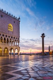 Dawn over St Mark's square and Doges palace, Venice