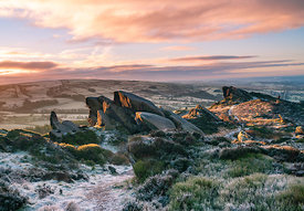 Ramshaw rocks at sunrise in January