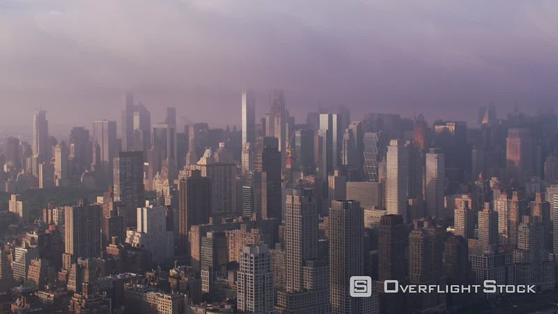 New York City Aerial view of Manhattan buildings in beautiful morning light.   Shot with Cineflex and RED EpicW Helium.