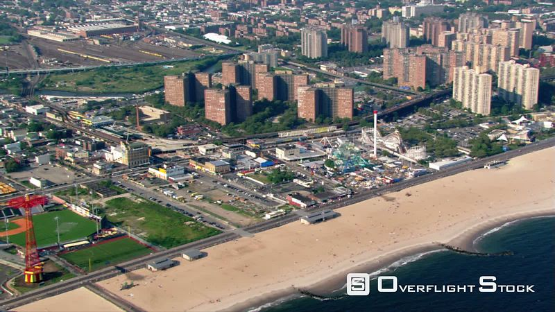 Flight over Coney Island in Brooklyn, New York.