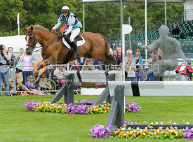Joy Dawes and HARBOUR PILOT C - cross country phase,  Land Rover Burghley Horse Trials, 7th September 2013.