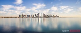 Doha skyline panoramic at sunrise, Qatar, Middle East