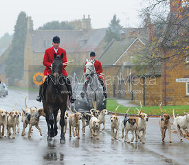 The Cottesmore hounds arriving at the meet in Lyddington