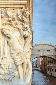 Bridge of sighs and sculpture, Venice, Italy