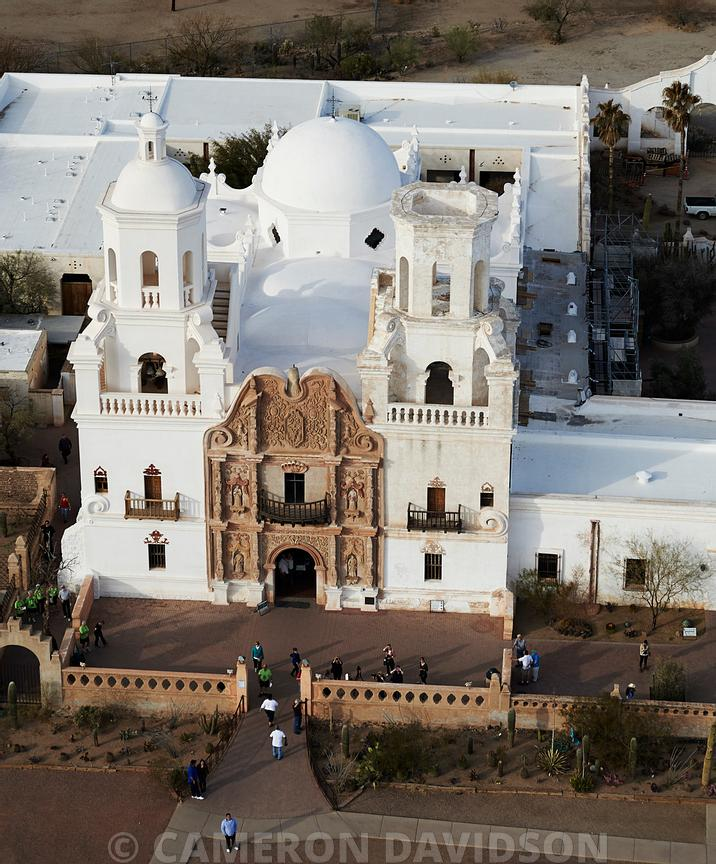 Aerial photograph of Mission San Xavier del Bac
