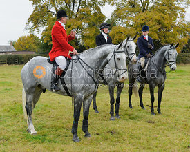 David Bellamy, William Grant and Helen Lovegrove at the meet - Belvoir Hunt Opening Meet 2016.