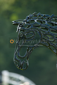 Horse Shoe sculpture of prancing horse
