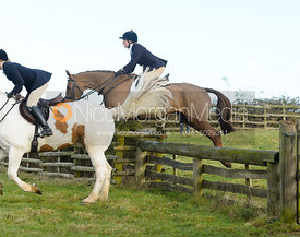 Hermione Brooksbank jumping a hunt jump at Hill Top Farm