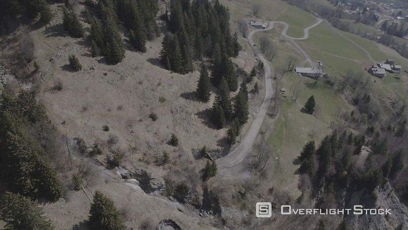 Mountain Roads of Col Arravis Filmed by Drone, Haute-savoie, France