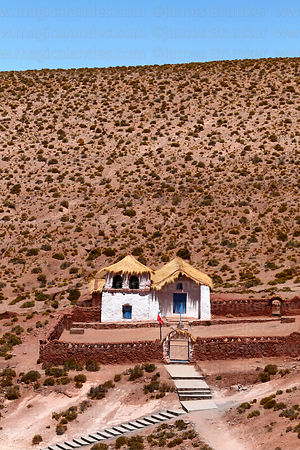 Quaint white painted adobe church, Machuca, Region II, Chile